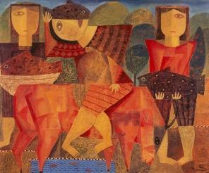 Der Stier und die Fische, 1997, Öl-Leinwand, 75x90cm