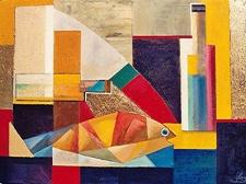 Stillleben -1, 2005, Öl auf Leinwand, Gold, 78x85cm