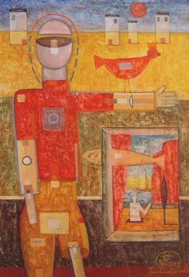 Das Fenster, 2001, Tempera/Karton, 39x27cm