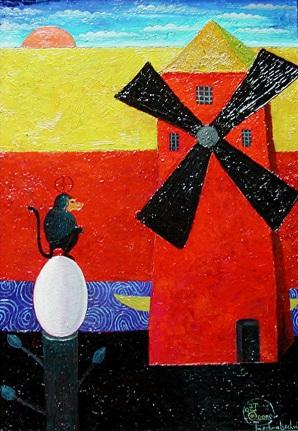 Die Welle vor der Ruhe, 2000, Öl-Hartfaser, 50x34,5cm