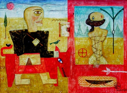 Eifersucht, 1999, Tempera/Papier, 25x34cm