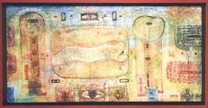 Harmonie für die Liebe, 1997, Tempera-Hartfaser, 27x57cm, 187x377cm (Wettbewerbsgewinn NBGK)