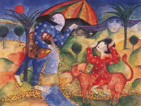 Im Himmel, 1996, Aquarell/Papier, 50x70cm