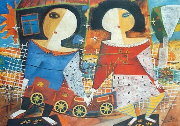 Der im Wasser versunkene Traum, 1997, Aquarell-Mischtechnik, 36x50,5cm
