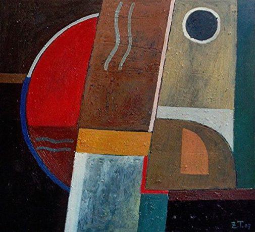 Komposition-1, 2007, Öl-Papier, 40x43 cm