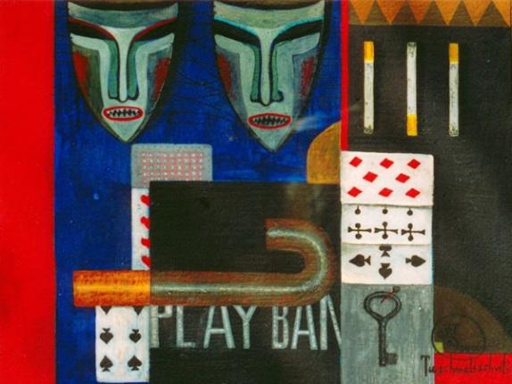 Mit Masken, 2000, Tempera-Karton, 19,x25,5cm