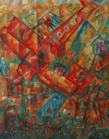 Rotes Flugzeug 2010, Öl-Leinwand, 100x80cm