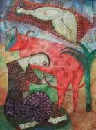 Stier mit Maske, 1995, Aquarell/Papier, 38x30cm
