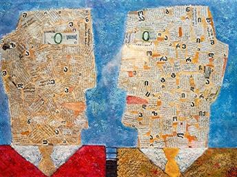 Zwei klatschende Männer, 2006, Tempera-Collage, Papier , 30x40cm