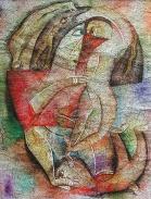 Frau mit Männern, 1995, Aquarell/Papier, 38x29cm