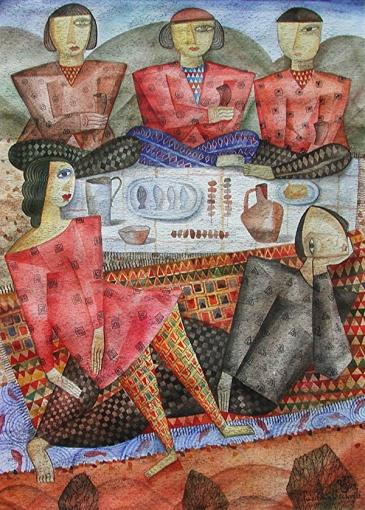 Picknick, 1998, Aquarell-Papier, 31x22cm