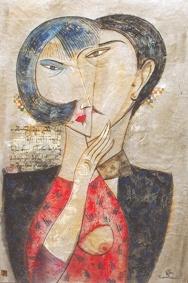 Liebespaar, 1994, Aquarell-Japan-Papier, 60x40cm