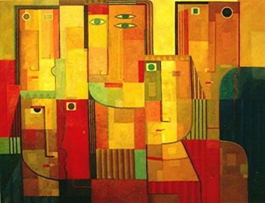 Männer mit Masken, 2003, Öl-Leinwand, 140x110cm