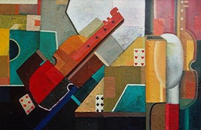 Komposition mit Geige, 2006, Öl-Leinwand, 60x91cm