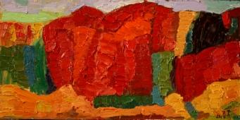 Der rote Berg 2017, Öl auf Hartfaser, 30x50cm