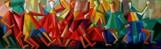 Der Tanz 2016, Öl auf Leinwand, 25x80cm