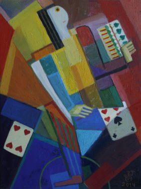 Der Zauber mit Karten, 2014, Öl auf Leinwand, 40x30cm