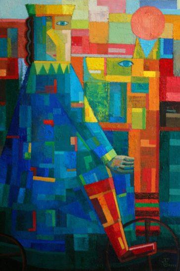 Junge auf dem Spielzeug 2011, Öl-Leinwand, 90x60cm