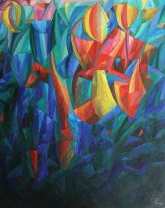 Komposition-Die Blumen, 2013, Öl auf Leinwand, 110x90cm